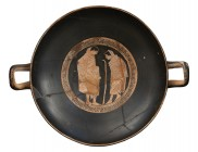 Attic Red-Figure Kylix, Attribuited to the Tarquinia Painter, ca. 470 - 460 BC; height cm 10, diam. cm 25; Into the inner tondo, inscribed in a contin...
