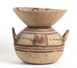 Daunian Olla, ca. 550 - 400 BC; height cm 22,3, diam. cm 23,2; With deep funnel-shaped rim, restored. Provenance: Private collection, London; acquired...