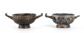 Couple of Apulian Cup-Skyphoi in Gnathia Style, 4th century BC; height cm 6,5, diam. cm 10,5; Sporadic chippings; one handle missing. Provenance: Engl...