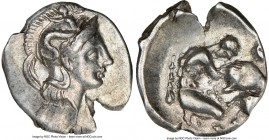 CALABRIA. Tarentum. Ca. 380-280 BC. AR diobol (14mm, 8h). NGC XF. Ca. 325-280 BC. Head of Athena right, wearing crested Attic helmet decorated with fi...