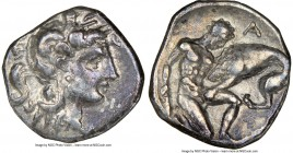 CALABRIA. Tarentum. Ca. 380-280 BC. AR diobol (12mm, 5h). NGC XF. Ca. 325-280 BC. Head of Athena right, wearing crested Attic helmet decorated with fi...