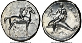 CALABRIA. Tarentum. Ca. 302-280 BC. AR stater or didrachm (22mm, 5h). NGC VF, smoothing. Arethon, Sy- and Kas, magistrates. Nude youth on horseback ri...