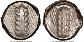 LUCANIA. Metapontum. Ca. 470-440 BC. AR stater (17mm, 7.94 gm, 12h). NGC VF 4/5 - 4/5. META, six-grained barley ear; dotted border on raised rim / Inc...