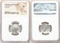 LUCANIA. Metapontum. Ca. 330-280 BC. AR stater (21mm, 1h). NGC XF. Ly-, magistrate. Head of Demeter left, wreathed with grain, wearing triple pendant ...