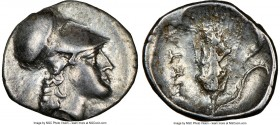 LUCANIA. Metapontum. Ca. 325-275 BC. AR diobol (13mm, 12h). NGC Choice VF. Head of Athena right, wearing Corinthian helmet pushed back on head / META,...