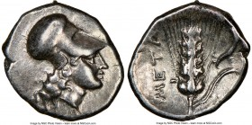 LUCANIA. Metapontum. Ca. 325-275 BC. AR diobol (12mm, 12h). NGC Choice VF. Head of Athena right, wearing Corinthian helmet pushed back on head / META,...