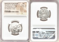 MACEDONIAN KINGDOM. Alexander III the Great (336-323 BC). AR tetradrachm (24mm, 17.32 gm, 5h). NGC MS 3/5 - 3/5. Early posthumous issue of Susa, ca. 3...