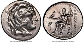MACEDONIAN KINGDOM. Alexander III the Great (336-323 BC). AR tetradrachm (28mm, 11h). NGC XF. Posthumous issue of Corinth, ca. 310-290 BC. Head of Her...