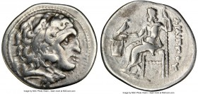 MACEDONIAN KINGDOM. Philip III Arrhidaeus (323-317 BC). AR drachm (19mm, 12h). NGC VF. Colophon, ca. 323-319 BC. Head of Heracles right, wearing lion ...