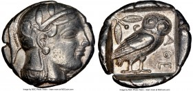 ATTICA. Athens. Ca. 465-455 BC. AR tetradrachm (25mm, 17.17 gm, 8h). NGC XF 5/5 - 4/5. Head of Athena right, wearing crested Attic helmet ornamented w...