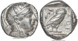 ATTICA. Athens. Ca. 465-455 BC. AR tetradrachm (26mm, 17.15 gm, 4h). Choice VF. Head of Athena right, wearing crested Attic helmet ornamented with thr...