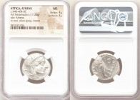 ATTICA. Athens. Ca. 440-404 BC. AR tetradrachm (23mm, 17.20 gm, 10h). NGC MS 4/5 - 3/5. Mid-mass coinage issue. Head of Athena right, wearing crested ...