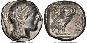ATTICA. Athens. Ca. 440-404 BC. AR tetradrachm (24mm, 17.17 gm, 4h). NGC Choice AU 5/5 - 4/5. Mid-mass coinage issue. Head of Athena right, wearing cr...