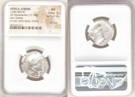 ATTICA. Athens. Ca. 440-404 BC. AR tetradrachm (24mm, 17.18 gm, 5h). NGC AU 5/5 - 4/5, Full Crest. Mid-mass coinage issue. Head of Athena right, weari...