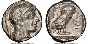ATTICA. Athens. Ca. 440-404 BC. AR tetradrachm (25mm, 17.14 gm, 5h). NGC Choice XF 5/5 - 4/5. Mid-mass coinage issue. Head of Athena right, wearing cr...