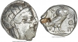 ATTICA. Athens. Ca. 440-404 BC. AR tetradrachm (25mm, 17.15 gm, 10h). AU, test cut. Mid-mass coinage issue. Head of Athena right, wearing crested Atti...