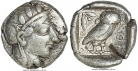 ATTICA. Athens. Ca. 440-404 BC. AR tetradrachm (26mm, 17.12 gm, 4h). Fine, test cut, bent. Mid-mass coinage issue. Head of Athena right, wearing crest...