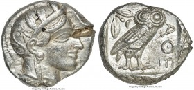 ATTICA. Athens. Ca. 440-404 BC. AR tetradrachm (25mm, 17.21 gm, 6h). XF, test cut. Mid-mass coinage issue. Head of Athena right, wearing crested Attic...