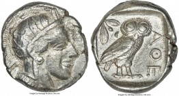 ATTICA. Athens. Ca. 440-404 BC. AR tetradrachm (25mm, 17.18 gm, 7h). Choice VF. Mid-mass coinage issue. Head of Athena right, wearing crested Attic he...