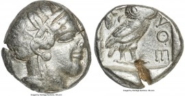 ATTICA. Athens. Ca. 440-404 BC. AR tetradrachm (24mm, 17.10 gm, 9h). VF, test cut. Mid-mass coinage issue. Head of Athena right, wearing crested Attic...