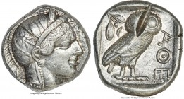 ATTICA. Athens. Ca. 440-404 BC. AR tetradrachm (25mm, 17.17 gm, 10h). About XF, test cuts. Mid-mass coinage issue. Head of Athena right, wearing crest...