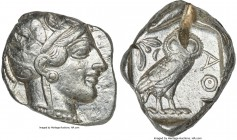 ATTICA. Athens. Ca. 440-404 BC. AR tetradrachm (28mm, 17.17 gm, 1h). VF, test cut. Mid-mass coinage issue. Head of Athena right, wearing crested Attic...