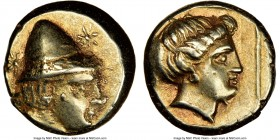 LESBOS. Mytilene. Ca. 377-326 BC. EL hecte (11mm, 2.56 gm, 12h). NGC XF 4/5 - 4/5. Head of young Cabeiros right, wearing wreathed pileus helmet; at si...