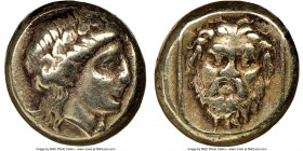 LESBOS. Mytilene. Ca. 377-326 BC. EL sixth stater or hecte (10mm, 2.56 gm, 12h). NGC Choice VF 4/5 - 3/5. Wreathed head of young Dionysus right / Faci...
