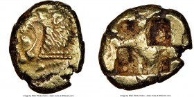 IONIA. Erythrae. Ca. 550-500 BC. EL sixth-stater or hecte (11mm). NGC VF. Head of Heracles left, wearing lion-skin headdress / Irregular quadripartite...