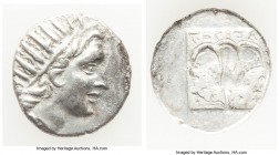 CARIAN ISLANDS. Rhodes. Ca. 88-84 BC. AR drachm (15mm, 2.41 gm, 12h). About XF. 'Plinthophoric' coinage. Peritas, magistrate. Radiate head of Helios r...