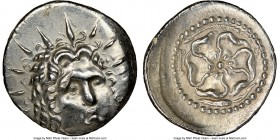 CARIAN ISLANDS. Rhodes. Ca. 84-30 BC. AR drachm (20mm, 12h). NGC AU, brushed. Radiate head of Helios facing, turned slightly right, hair parted in cen...