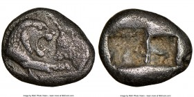 LYDIAN KINGDOM. Croesus (ca. 561-546 BC). AR sixth-stater or hecte (11mm). NGC VF, countermark. Sardes, ca. 550-546 BC. Confronted foreparts of lion r...