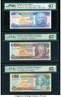 Barbados Central Bank 2; 100; 50 Dollars ND (1986); ND (2000); 2007 Pick 36; 65; 70 Three Examples PMG Superb Gem Unc 67 EPQ (2); Gem Uncirculated 65 ...