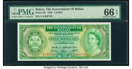 Belize Government of Belize 1 Dollar 1.1.1976 Pick 33c PMG Gem Uncirculated 66 EPQ.   HID09801242017  © 2020 Heritage Auctions | All Rights Reserve