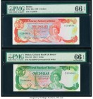 Belize Monetary Authority; Central Bank 5; 1 Dollars 1.6.1980; 1.1.1986 Pick 39a; 43 Two Examples PMG Gem Uncirculated 66 EPQ (2).   HID09801242017  ©...