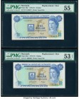 Bermuda Monetary Authority 1 Dollar 1.7.1975 Pick 28a* Two Replacement Examples PMG About Uncirculated 55; About Uncirculated 53 EPQ.   HID09801242017...