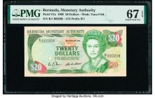 Bermuda Monetary Authority 20 Dollars 20.2.1989 Pick 37a PMG Superb Gem Unc 67 EPQ. Serial number 208.  HID09801242017  © 2020 Heritage Auctions | All...