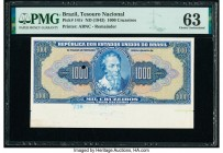 Brazil Tesouro Nacional 1000 Cruzeiros ND (1943) Pick 141r Remainder PMG Choice Uncirculated 63. Printer's annotations; one POC.  HID09801242017  © 20...