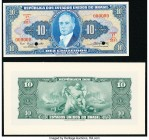 Brazil Tesouro Nacional 10 Cruzeiros ND (1943) Pick 135p Front and Back Proofs About Uncirculated-Crisp Uncirculated. Two POCs on Front Proof.  HID098...