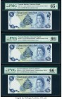 Cayman Islands Currency Board 1 Dollar 1971 (ND 1972) Pick 1a Three Consecutive Examples PMG Gem Uncirculated 65 EPQ; Gem Uncirculated 66 EPQ (2).   H...