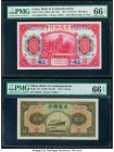 China Bank of Communications 10; 5 Yuan 1914; 1941 Pick 118q; 157 S/M#C126-115b; 251 Two Examples PMG Gem Uncirculated 66 EPQ (2).   HID09801242017  ©...