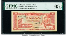 Ethiopia National Bank 10 Dollars ND (1966) Pick 27a PMG Gem Uncirculated 65 EPQ.   HID09801242017  © 2020 Heritage Auctions | All Rights Reserve