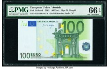 European Union Austria 100 Euro 2002 Pick 12n PMG Gem Uncirculated 66 EPQ.   HID09801242017  © 2020 Heritage Auctions | All Rights Reserve