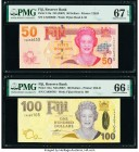 Fiji Reserve Bank of Fiji 50; 100 Dollars ND (2007) Pick 113a; 114a Two Examples PMG Superb Gem Unc 67 EPQ; Gem Uncirculated 66 EPQ.   HID09801242017 ...