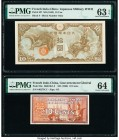 French Indochina Japanese Imperial Government; Gouvernment General 10 Yen; 10 Cents ND (1942); ND (1939) Pick M7; 85c Two Examples PMG Choice Uncircul...