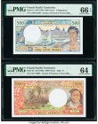 French Pacific Territories Institut d'Emission d'Outre Mer 500; 1000 Francs ND (1992); ND (1996) Pick 1a; 2b Two Examples PMG Gem Uncirculated 66 EPQ;...