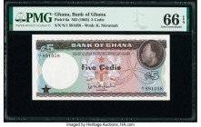 Ghana Bank of Ghana 5 Cedis ND (1965) Pick 6a PMG Gem Uncirculated 66 EPQ.   HID09801242017  © 2020 Heritage Auctions | All Rights Reserve