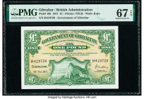 Gibraltar Government of Gibraltar 1 Pound 20.11.1971 Pick 18b PMG Superb Gem Unc 67 EPQ.   HID09801242017  © 2020 Heritage Auctions | All Rights Reser...