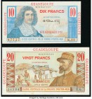 Guadeloupe Caisse Centrale de la France d'Outre-Mer Group of 2 Examples About Uncirculated. Pinholes on 10 Francs; minor staining on 20 Francs. Possib...
