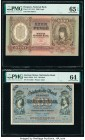 Hungary; German States Hungarian National Bank; Sachsische Bank 1000 Pengo; 100 Mark 24.2.1943; 2.1.1911 Pick 116; S952b Two Examples PMG Gem Uncircul...